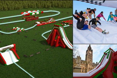 Customized Large Inflatable 5k Run / Inflatable Bouncy Obstacle Course For Summer Event CE Approval