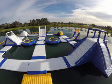 Blue Obstacle Course Water Games Inflatable Aqua Park For Luxury Resort